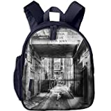 super mario sleeping bag - Haixia Kids' Boys'&Girls' Bookbag with Pocket City Caution Please Slow Down Sign On Passage Town Old Fashion Urban District Scenery Full Black and White