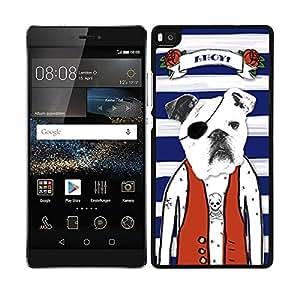 Funda carcasa para Huawei P8 Lite diseño dibujo perro bulldog francés con parche pirata borde negro