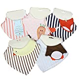 Adoraby Baby Bibs, Cute Design Pinafore Burp Cloth Feeding Dribble for 0 to 3 Years Old Kids