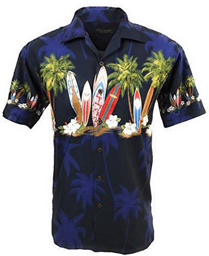 Favant Tropical Luau Beach Surfboard Print Men's Hawaiian Aloha Shirt … (XX-Large, - Tropical Surfboard