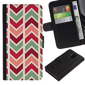 Planetar® Modelo colorido cuero carpeta tirón caso cubierta piel Holster Funda protección Samsung Galaxy S5 Mini (Not S5), SM-G800 ( Chevron Lines Pattern Teal Maroon )