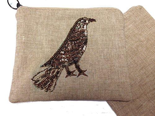 Embroidered Zipper Beaded Pouch - Bird