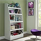 Pemberly Row Kids 4-shelf Bookcase in White Finish