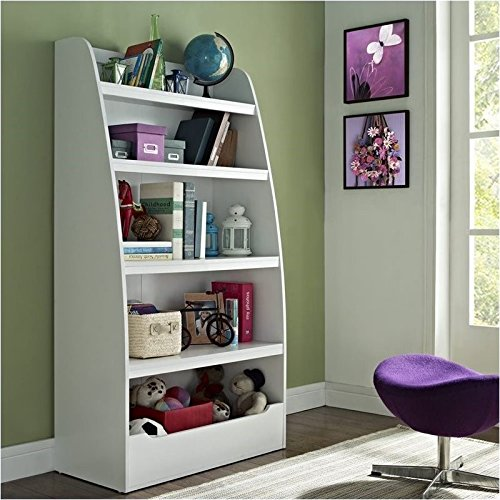 Pemberly Row Kids 4-shelf Bookcase in White Finish by Pemberly Row