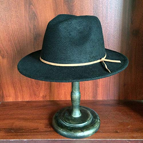 456d2d9209c4e KKONION Fedora Hats 100% Wool Women Men Outback with Wide Brimy Cloche Jazz  Church Godfather Cap Black at Amazon Men s Clothing store