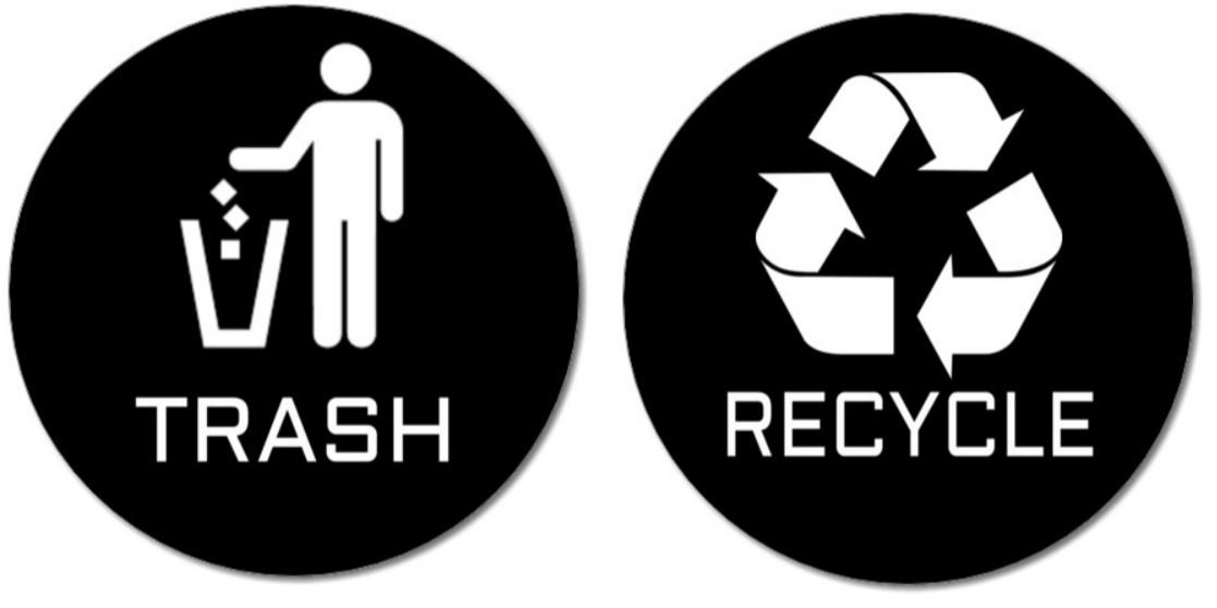 graphic regarding Recycle Sign Printable known as 2 Quality High quality Trash Recycle Stickers (1 Trash Sticker + 1 Recycle Sticker) for Retain the services of upon Trash Cans Recycle Boxes; 4\