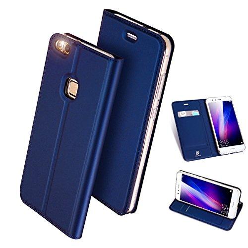 利得リブ不正確Huawei P10 Lite ケース 手帳型 高級PU レザー 耐衝撃 薄型 軽量 カード収納 P10lite 専用 財布型 マグネット スタンド機能付き スマホケース 耐汚れ シンプル 人気 おしゃれ ケース (ブルー)