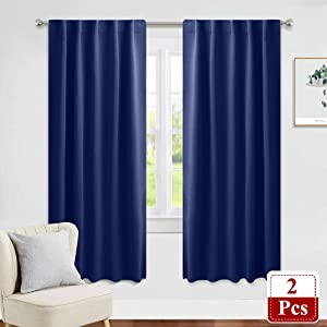 """PONY DANCE Blackout Window Curtains - 42"""" Wide x 72"""" Long, Navy Blue Kids' Room Panels Room Darkening Pocket Curtains Thermal Insulated Window Coverings with 6 Back Loops Per Panel, 2 PCs"""
