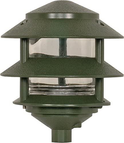 Nuvo Lighting SF77 323 One Light Two Louver Small Hood 120 Volt Die Cast Aluminum Durable Outdoor Landscape Pathway Lighting, Green