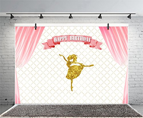 Dress Party Portrait (Leyiyi 5x3ft Photography Background Happy Birthday Backdrop Ballet Girl Glitter Dancer Ribbon Letters Stage Curtain Chechered Flag Mirror Performance Baby Shower Photo Portrait Vinyl Studio Prop)