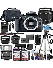 Canon EOS Rebel T7 24.1 MP DSLR Digital Camera with Canon EF-S 18-55mm Lens + 2 pc SanDisk 32GB Memory Cards + Camera Bag + Flash Light + Accessory Bundle