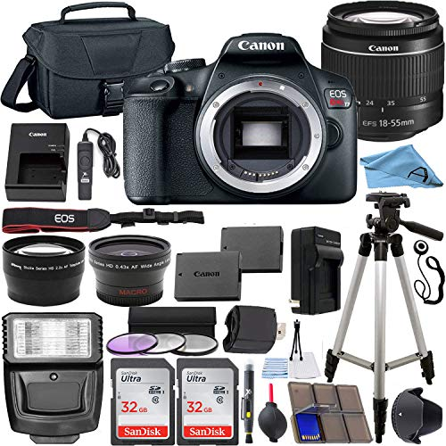 Canon EOS Rebel T7 24.1 MP DSLR Digital Camera with Canon EF-S 18-55mm Lens + 2 pc SanDisk 32GB Memory Cards + Camera…