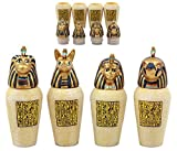 Ebros Gift Ancient Egyptian Four Sons Of Horus Canopic Jars Imsety Duamutef Hapi and Qebehsenuef Miniature Figurines