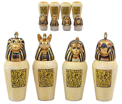 Egyptian Canopic Jars (Ebros Gift Ancient Egyptian Four Sons Of Horus Canopic Jars Imsety Duamutef Hapi and Qebehsenuef Miniature Figurines)
