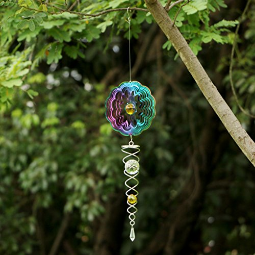 Ymeibe Sun Hanging Spinner Garden Galvanized Wind Spinner Outdoor with Helix Spiral Tail and Glass Ball 3-D Stainless Steel Kinetic Twisting Decor for Patio, Deck or Yard by Ymeibe (Image #9)