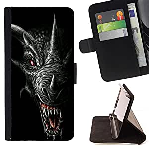 Momo Phone Case / Flip Funda de Cuero Case Cover - Los dientes del dragón Scary Negro Cuerno - Sony Xperia Z5 5.2 Inch (Not for Z5 Premium 5.5 Inch)
