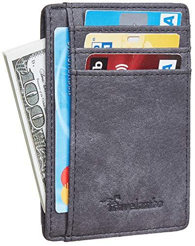 Travelambo Front Pocket Minimalist Leather Slim Wallet RFID Blocking Medium Size (Oldo Black Gentleman)