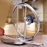 iPstyle Pan Lid Holder Progressive Lid and Spoon Rest Shelf 304 Stainless Steel Pan Lid Organizer Kitchen Decor Tool