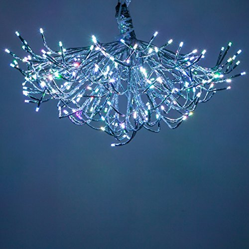 RGB Silver LED Starburst 5mm Star Light Lighted Branches - Christmas Light Balls (24