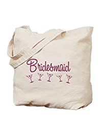 CafePress - Pink M Martini Bridesmaid - Natural Canvas Tote Bag, Cloth Shopping Bag