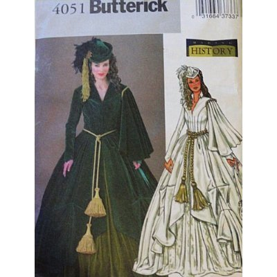 Butterick 4051 Historical Costume Pattern, Gone With the Wind, Scarlett O'Hare Dress Hat Bag Size 18,20,22]()