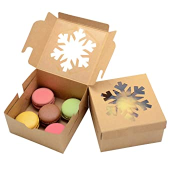 """Amazon.com: WEEPA 25pcs Bakery Boxes with Window 4x4x2.5"""" Snowflake Square  Kraft Boxes Bulk Brown Paper Bakery Pie Boxes with Lids Wedding Valentine's  Day Gift Packaging Boxes for Mini Cakes Pastries Candy Treat:"""