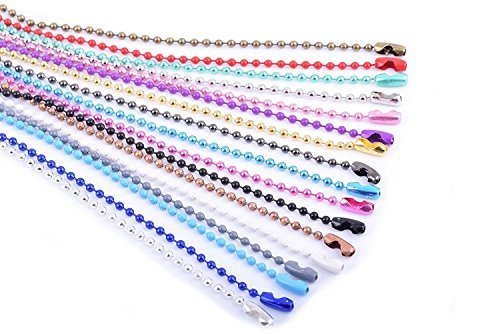 (KONMAY 20pcs Mixed Color 2.4mm Size #3 Beads Ball Chain Necklace With Connectors (18''))
