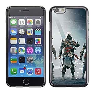 EJOY---Cubierta de la caja de protección la piel dura para el / Apple Iphone 6 Plus 5.5 / --Asesinos Bandera Negro