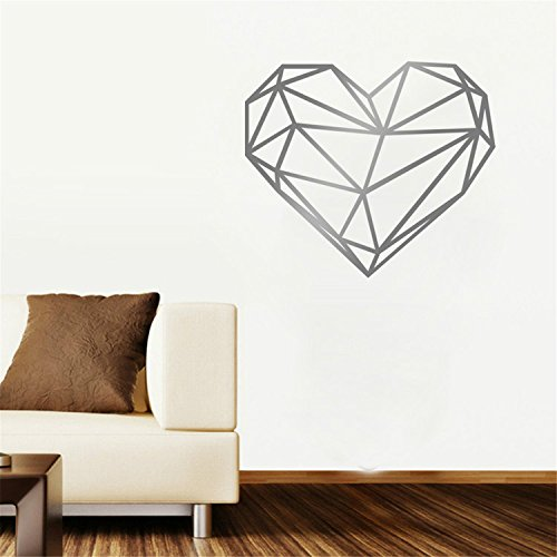 Yanqiao DIY Creative Children Room Decoration Removable Vinyl Geometry Big Heart Wallpaper Wall Stickers 18.9x22