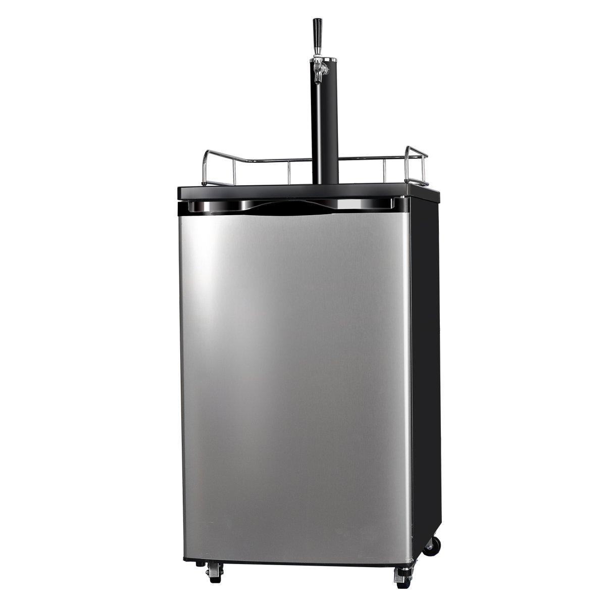 SMETA Freestanding Kegerator Draft Beer Dispenser with Beer tower Beer keg cooler refrigerator 4.9 cu ft,Stainless steel