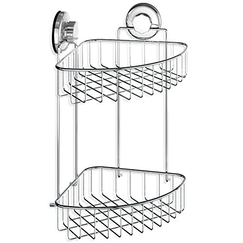 HASKO accessories - Suction Cup Corner Shower Caddy | 304 Stainless Steel Polished Chrome Shelf 2 Tier Basket Holder for Bathroom and (Two Tier Corner Basket)