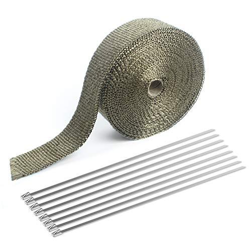 LIBERR - Kit de cinta adhesiva de titanio para coche o moto con 8 bridas de acero inoxidable, 5 x 127 cm