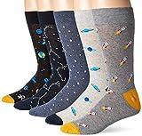 Goodthreads Men's 5-Pack Patterned Socks, Space,...