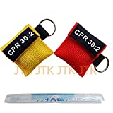Tools & Hardware : 2pcs/lot CPR MASK WITH KEYCHAIN CPR FACE SHIELD AED RED&YELLOW POUCH CPR 30:2