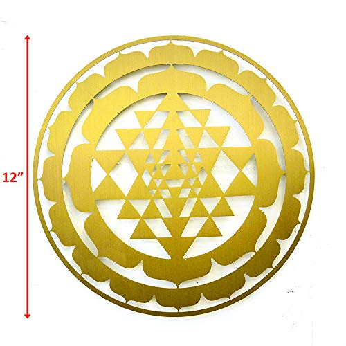 CANDIKO Sacred Geometry Stainless Steel Metal Wall Art Sri Yantra Symbol Decor 12 inch (Gold, Large)