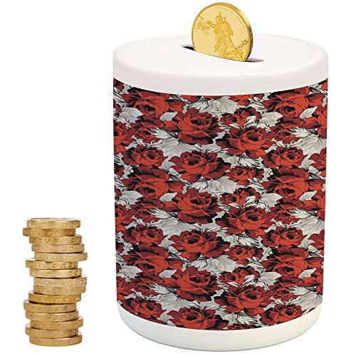 Floral,Piggy Bank Coin Bank Money Bank,Printed Ceramic Coin Bank Money Box for Cash Saving,Rose Flowers Vintage Design Elements Petals Leaves Love Themed Valentines Image - Valentine Ball Dragon