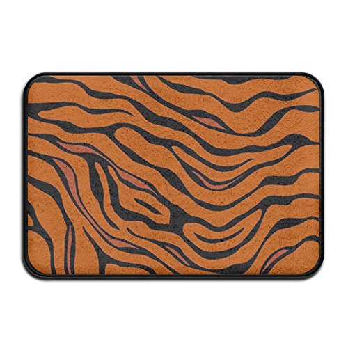 (HOMESTORES Non Slip Coral Velvet Bathmat Absorbent Bath Rugs 17x24 Inch Memory Foam Bath Mats With Anti-Skid Bottom - Tiger Stripe Animal)