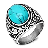 TUJI Mens Stainless Steel Ring Classic Vintage, Blue Created-turquoise (9)