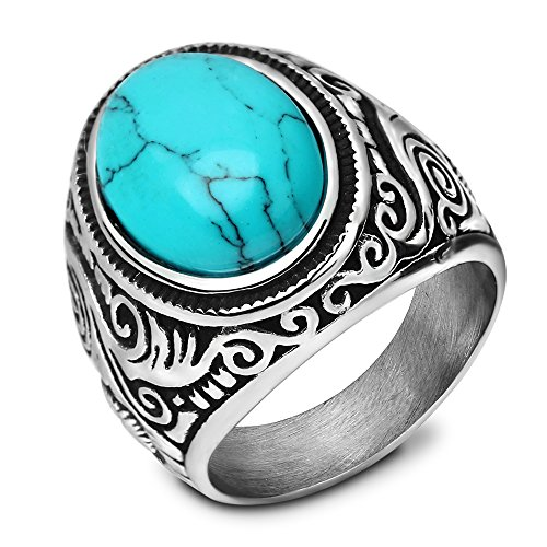VQYSKO Classic Mens Stainless Steel Ring Classic Vintage, Blue Created-turquoise (10 Stone Ring)