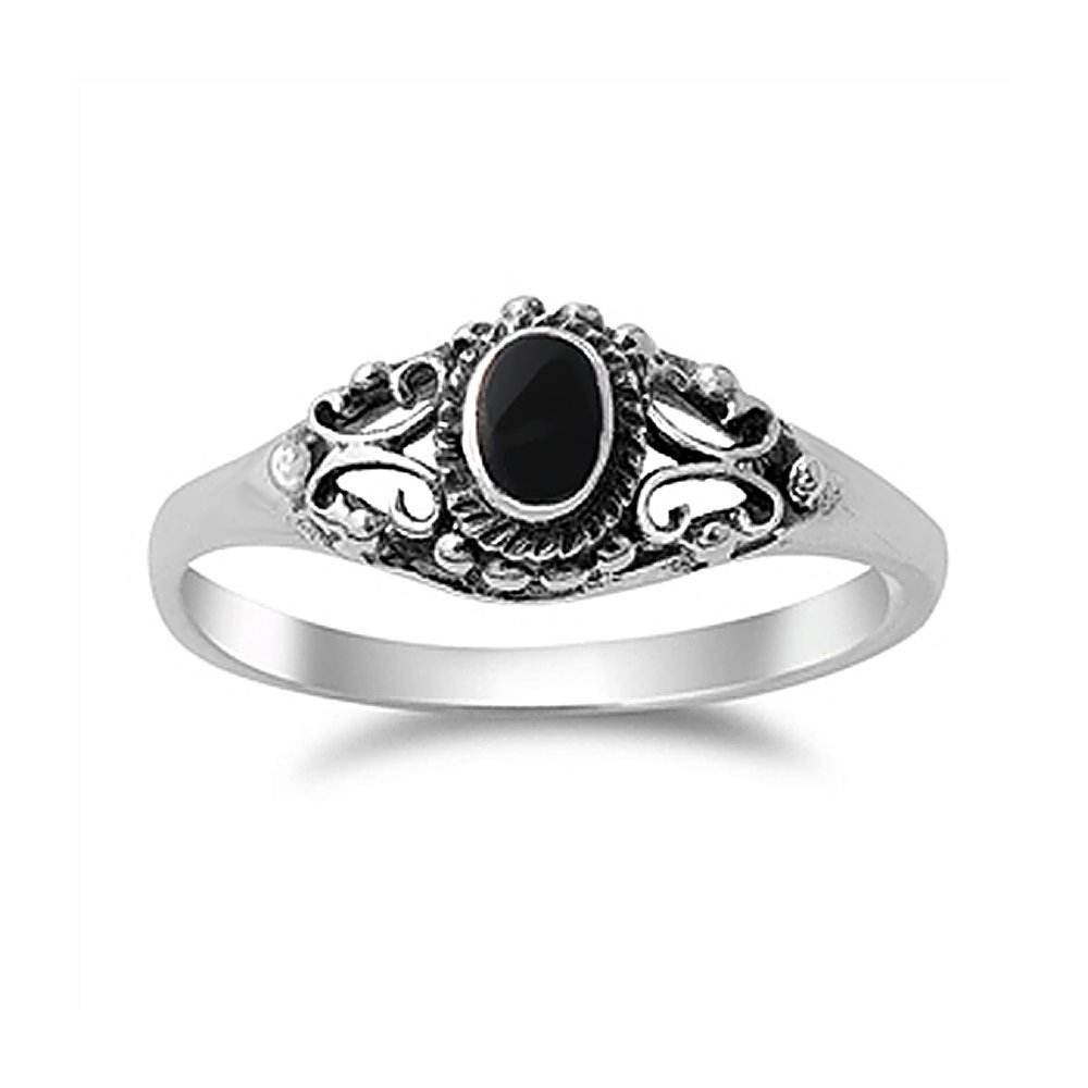Sterling Silver Simulated Black Onyx Vintage Style Promise Ring 7mm ( Size 4 to 10 )