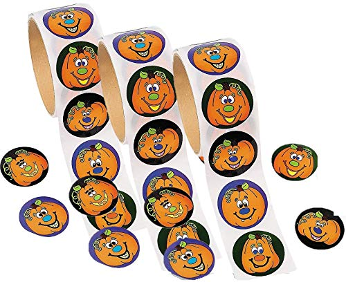Fun Express Jack-O'-Lantern Roll Stickers | 3-Pack (300 Count) | Great for Halloween-Themed Party Favors | Children Age 3+ ()