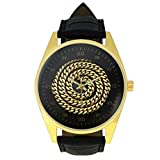 Cool Men's Gold Wrist Watches Personalized Design Gold Necklace Pattern Printed