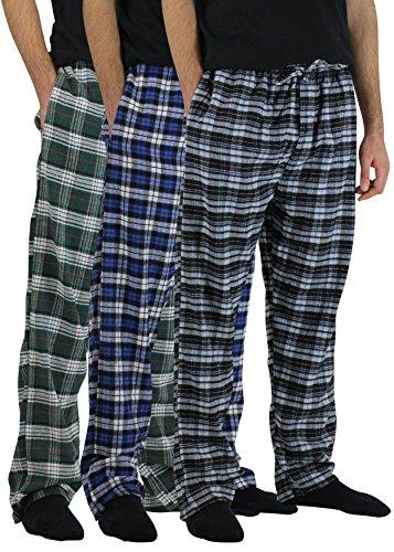 Real Essentials 3 Pack:Men's Cotton Super Soft Flannel Plaid Pajama Pants/Lounge Bottoms,Set 2-XXL
