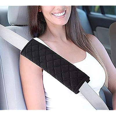 Daigtree 2pcs Seat Belt Covers, Soft Velvet Feel Car Belt Protector Shoulder Seatbelt Pad for Adults Youth Kids - Car, Truck, SUV, Airplane,Carmera Backpack Straps (Black): Automotive