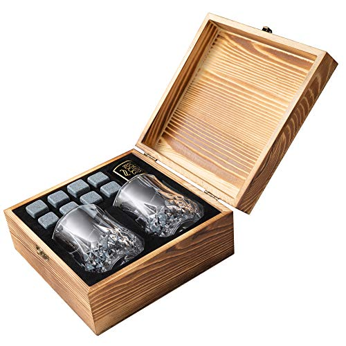 Whiskey Stones Gift Set - 8 Natural Granite Chilling Whisky Rocks To Chill any Beverages & Drinks + Two 6.8 oz Crystal Whiskey Glasses + Handmade Wooden Box - Best Bar Accessories By Lord's Rocks ()