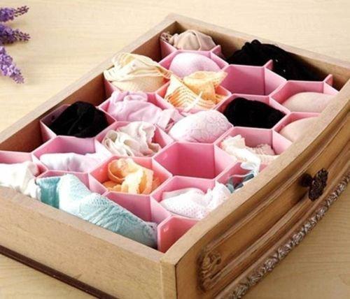 Ieasycan Set Of 2 Honeycomb Shape Sock Tie Drawer Closet Divider Storage Organizer Box