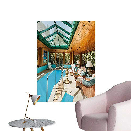 Sunrays Framed - Anzhutwelve Modern Wallpaper Residential House Large Indoor Pool Furniture Sunrays Leisure Time PrintGreen Pale Brown Blue W32 xL36 The Office Poster
