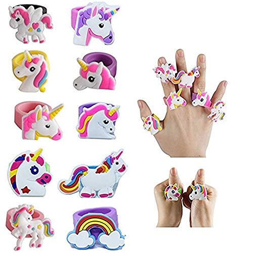 Fineder 20 PCS Unicorn Ring, Unicorn Rubber Ring Unicorn Party Supplies Party Favors -