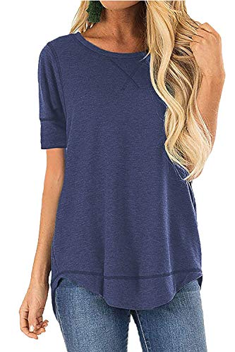 - POGTMM Women's Summer Loose Casual V-Notch Tee Tops Short Sleeve T-Shirts (XL, Blue)