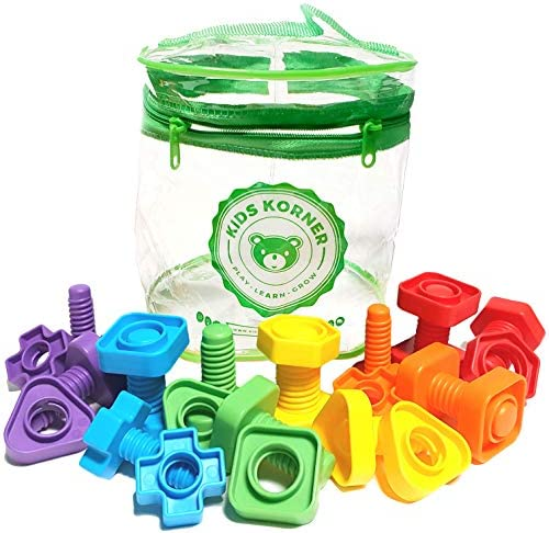 24 PCS Occupational Therapy Toddlers Toys Montessori Building Construction Set with Storage Case Kids Matching Game Toys for Preschoolers Boys Girls Jumbo Nuts and Bolts Fine Motor Skills